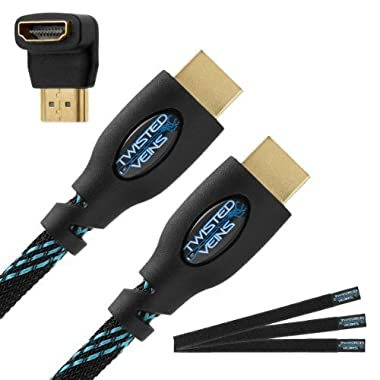 Twisted Veins (10 ft) High Speed HDMI Cable + Right Angle Adapter and Velcro Cable Ties (Latest Version Supports Ethernet, 3D, and Audio Return)