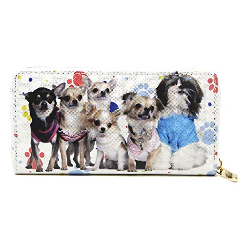 by you Women Holographic 3D Long Clutch Wallet Zipper Closure Card Slots Zippered Coin Pouch (CUTE DOGGIES)