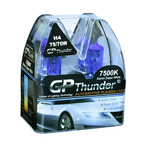 GP Thunder GP75-H4 7500K H4 (9003) 12V 75W/70W HI/LO Halogen Xenon Super White Color W/QUAZE Glass (2 Bulbs)