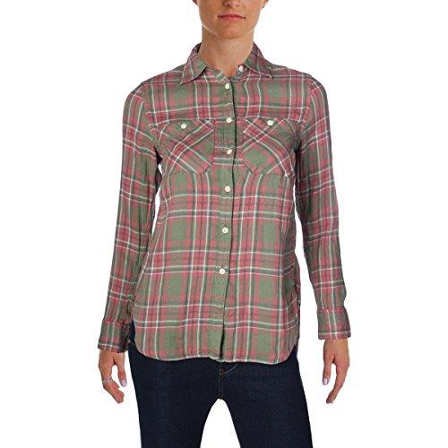 Denim & Supply Ralph Lauren Womens Plaid Linen Button-Down Top Green XXS