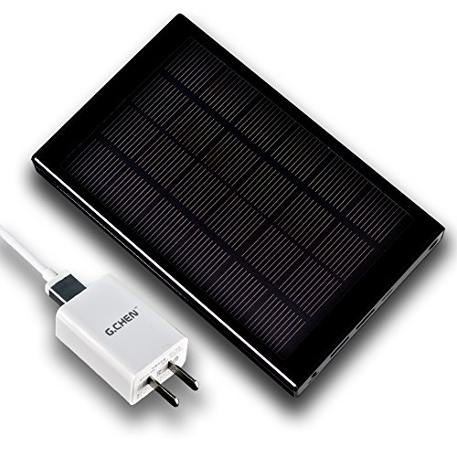 【G.CHEN】30000MAH Solar Power Bank Protable Cell-phone Battery Charger,2 USB at the Same Time Fast Charging (Black)