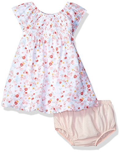 Burt's Bees Baby Baby Organic Smocked Bubble Dress and Diaper Cover Set, Cloud Ditsy Floral, 6-9 (Smocked Cover)