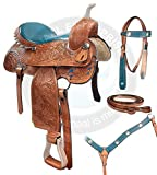 ME Enterprises Premium Leather Western Barrel Racing Adult Horse Saddle Tack, Free Matching Leather Headstall, Breast Collar, Reins Size 14″ to 18″ Inches Seat Available
