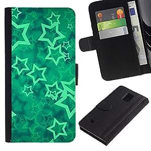Paccase / Billetera de Cuero Caso del tirón Titular de la tarjeta Carcasa Funda para - stars vortex mint mystical abstract - Samsung Galaxy Note 4 SM-N910