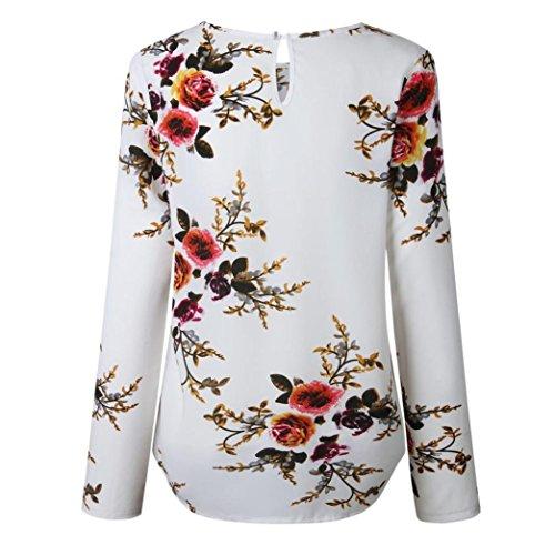 girocollo casual lunghe stampato in donna shirt top a da autunno Camicetta donna t White moda maniche pTagqg