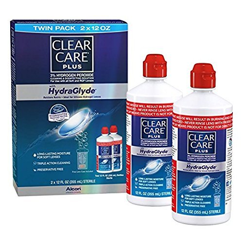 Clear Care Cleaning & Disinfecting Solution with Lens Case, Twin Pack, 16-Ounce Each by Clear Care