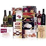 Lote de navidad económico con turrones, dulces, charcutería y vinos variados
