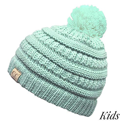 Crane Clothing Co. Women s Kids Solid Pom CC Beanies One Size Mint ... 5f6e0b10fd1