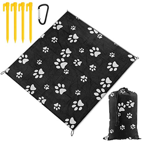 - Waterproof Picnic Mat White Black Paw Print Traveling Quick Drying Picnic Mats Potable Outdoor Beach Blanket Foldable Picnic Blanket for Camping,Hiking,Festival,Beach,BBQ,Picnic 78 x 57 inch