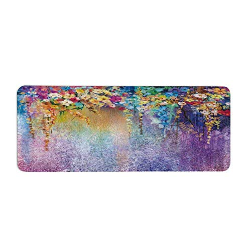 TecBillion Watercolor Flower Home Decor Fashionable Long Door Mat,Abstract Herbs Weeds Blossoms Ivy Back with Florets Shrubs Design for Home Office,23.6