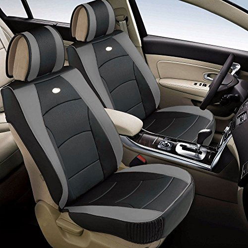 2008 Ford Escape Suv - FH Group PU205102 Ultra Comfort Leatherette Front Seat Cushions, Gray/Black Color - Fit Most Car, Truck, SUV, or Van