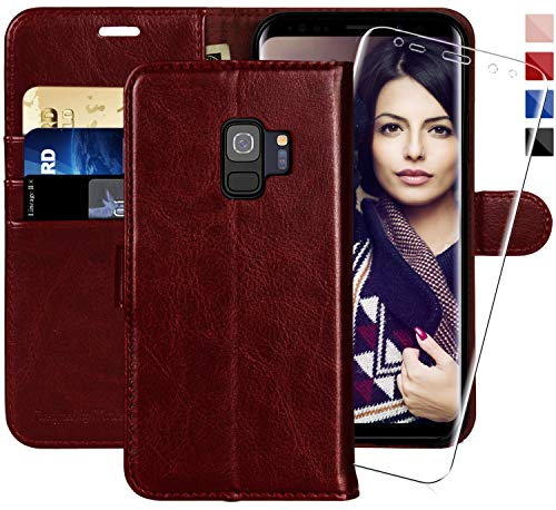 (Galaxy S9 Wallet Case, 5.8-inch,MONASAY [Included Screen Protector] Flip Folio Leather Cell Phone Cover with Credit Card Holder for Samsung Galaxy)
