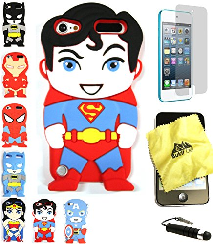 Bukit Cell 3D Superhero Bundle: Superman Cute Justice League Cartoon Soft Silicone Case for Ipod Touch 6 6th Generation / 5 5th Generation + Cleaning Cloth + Screen Protector + Stylus Pen (Ipod Touch Superhero Cases)