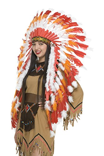 Charades Indian Headdress, White/Orange, One Size
