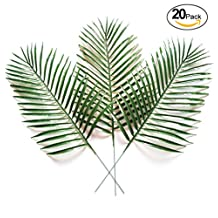 20pcs Artificial Simulated Tropical Palm Leaves Fake Plants for Handcrafts Home Kitchen Party Decorations