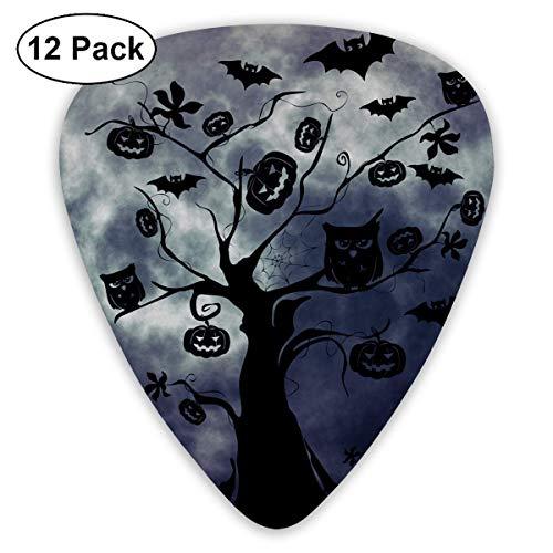 Custom Guitar Picks, Halloween Silhouette Tree Owls Bats Guitar Pick,Jewelry Gift For Guitar Lover,12 -
