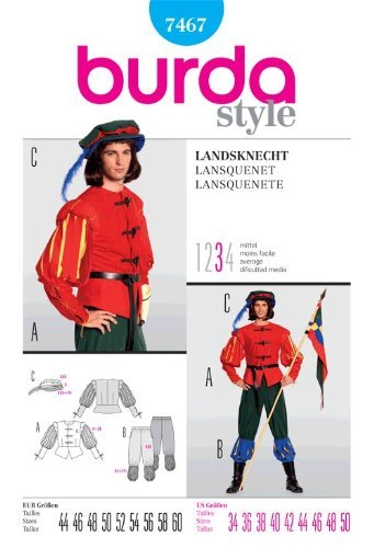 BURDA 7467 Middle Age Guard ~ Renaissance Medieval Mens Historical Costume (SIZE 34-48) ~ SEWING PATTERN -