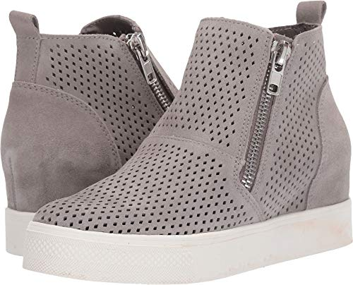 Steve Madden Women's Wedgie-P Sneaker, Light Grey Suede, 7.5 M US