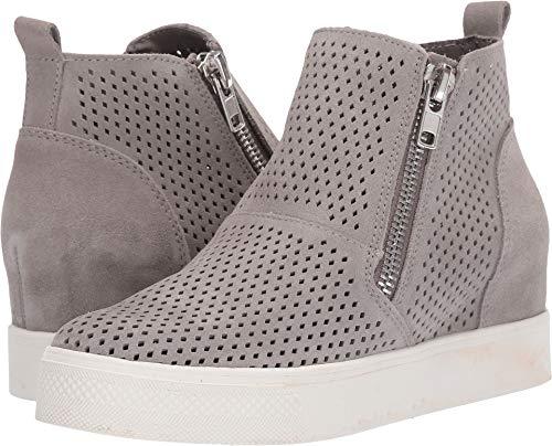 Steve Madden Women's Wedgie-P Sneaker Light Grey Suede 6.5 M US (Steve Madden Leather High Tops)
