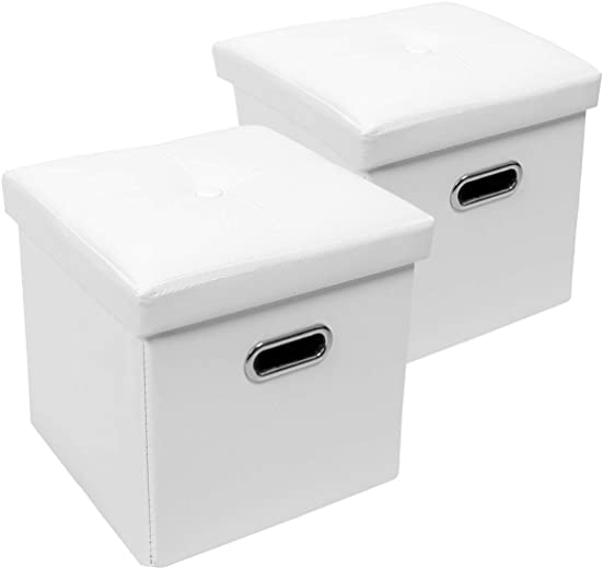 SZAT PRO 2 Pack Faux Leather Cube Storage Ottoman