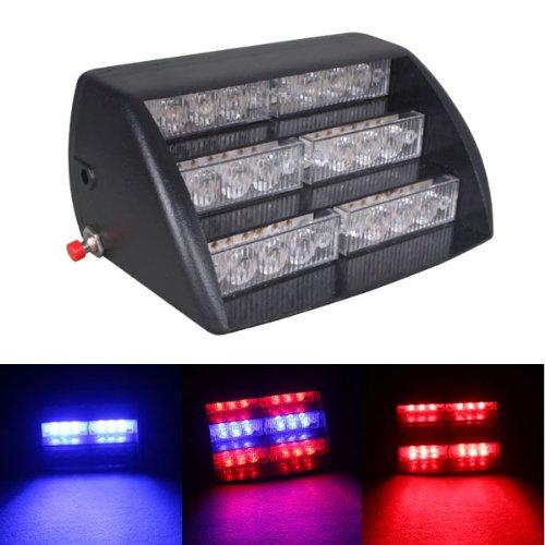 Ringlit® Vehicle Car Truck White 18 LED Emergency Flashing Flash Dash Strobe Light Red/blue with Motorcycle Cigarette Lighter (Motorcycle Emergency Lights)