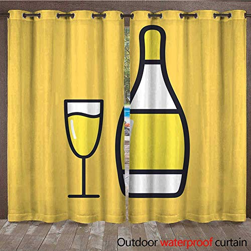 - RenteriaDecor 0utdoor Curtains for Patio Waterproof Glass of Champagne with Bottles Flat Style Cartoon Alcohol icon W72 x L108
