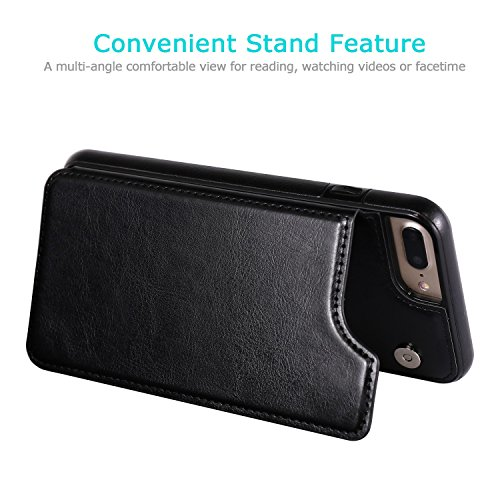 iPhone 7 Plus iPhone 8 Plus Wallet Case with Card Holder, OT ONETOP Premium PU Leather Kickstand Card Slots Case,Double Magnetic Clasp and Durable Shockproof Cover 5.5 Inch(Black) by OT ONETOP (Image #3)