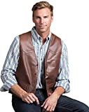 Glenn Waxed Lambskin Leather Vest, BRICK, Size 46