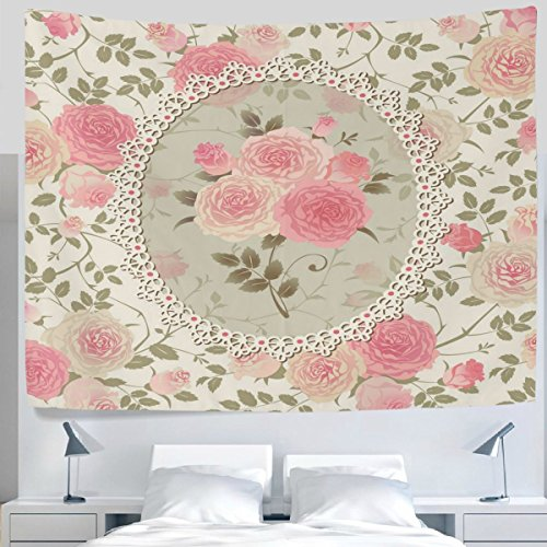 HMWR Pink Rose Floral Tapestry Wall Hanging Shabby Chic Flower