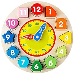 Coogam Wooden Shape Color Sorting Clock - Teaching Time Number Blocks Puzzle Stacking Sorter Jigsaw Montessori Early Learning Educational Toy Gift for 1 2 3 Year Old Toddler Baby Kids