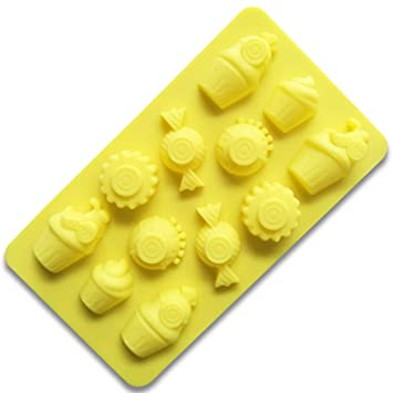 Ruiting Moldes de Pastel, Torta Silicona 12 cavidad 3D Dulces y Helados Fondant Molde Herramientas