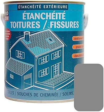 d/écore anti-fuites prot/ège plusieurs coloris PROCOM 2.5 litres Sable r/éparation tuiles Peinture d/étanch/éit/é toiture anti-mousse fissures