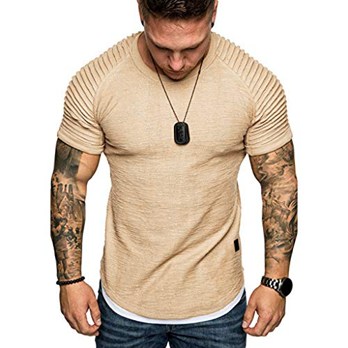 SSYUNO Men Hipster Hip Hop Elong Longline Crewneck T-Shirt Muscle Cotton Casual Tops Slim Fit Blouse Shirts ()