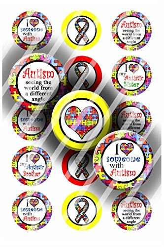 Pre-Cut Bottle Cap Images Autism Awareness Collage Sheet R390 - 1 Inch Circles