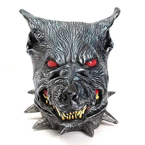 Leno Wolfhound Head Mask Creepy Animal Halloween Costume Theater Prop Latex Party Toy