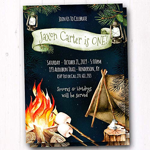 Amazon Com Camping Birthday Party Invitations Bonfire S Mores