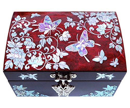Jewelry Box Ring Organizer Mother of Pearl Inlay Mirror Lid Butterfly Red