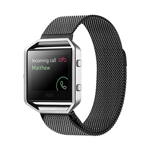 Fitbit Blaze Accessory Band Large (6.7-8.1 in),Vitech Milanese loop stailess steel Bracelet Strap for Fitbit Blaze Smart Fitness Watch, Black, Silver, Large with unique Magnet lock (Black) by ViTech