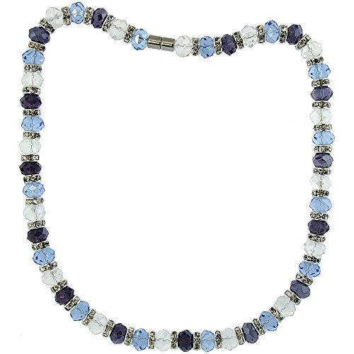 18 in. Multi Color Faceted Glass Crystal Necklace on Elastic Nylon Strand ( Clear, Blue Topaz & Amethyst Color ), 3/8 in. (10mm) wide