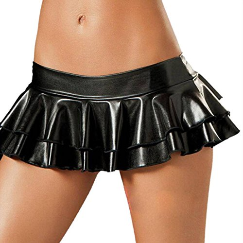 Makaor Sexy Women Lingerie Mini Dress Metallic Leather Mini Skirt Clubwear Pajamas (Black, Free Size: (Skirt Sexy Stripper)