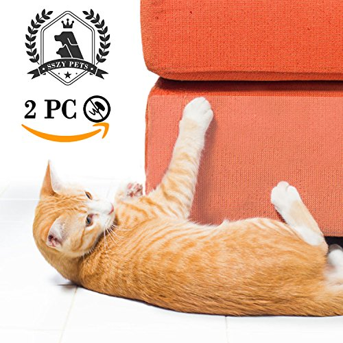 "SSZY Upgraded Couch Guard 2 PCS 18X9 Furniture Defender Without Pins, Pet Scratch Protector Harmless Care for Leather Sofa Scratch Training Aids Large Vinyl Self-Adhesive Protective Pads (189"")"