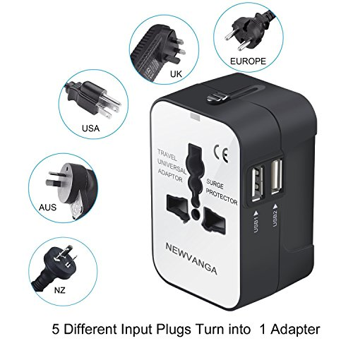Travel Adapter, Worldwide All in One Universal Travel Adapter Power Converters Wall Charger AC Power Plug Adapter with Dual USB Charging Ports for USA Eu Uk AUS, White by NEWVANGA (Image #1)