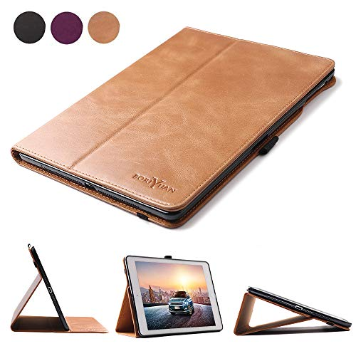 Boriyuan Leather Case for iPad 9.7 2018(6th Generation)/2017(5th Generation)/iPad Pro 9.7/iPad Air 2 &1-Genuine Leather Soft TPU Back Smart Cover with Pencil Holder & Magnetic Auto Sleep/Wake(Brown) ()