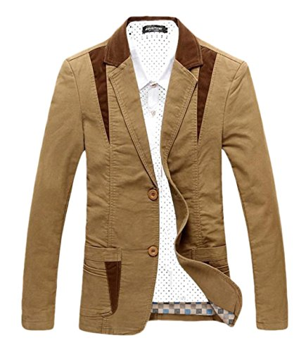 Chartou Men's Casual Western-Style Lightweight Slim Two-Buttons Cotton Suit Blazers Jacket (XX-Large, Khaki)