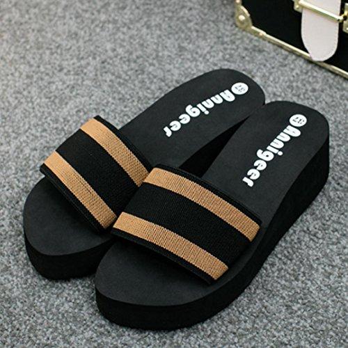 IGEMY Women Summer Sandals Slipper Indoor Outdoor Flip-flops Beach Shoes Brown a98Dz