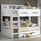 Happy Beds Wooden Bunk Bed with Underbed Storage Drawer, Orion White Wood Modern Twin Sleeper - 3ft Single (90 x 190 cm) Frame Only