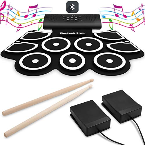 9 Pads Electronic Drum Set[Bluetooth Upgraded Version], VEEtop Thickened Hand Roll Up Electric Drum Practice Pad, Built-in Speakers, Bluetooth, MIDI, Christmas Holiday Birthday Gift for Kids, Beginner