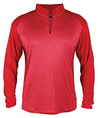(Badger - Pro Heather Quarter-Zip Pullover - 4394 - XL - Red Heather/Red)