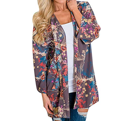 GOVOW Womens Cover Up Blouse Beachwear Fashion Casual Shawl Print Kimono Cardigan Top Purple]()