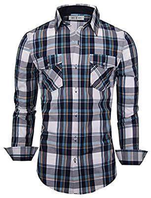 Tom's Ware Mens Stylish Button Down Long Sleeve Plaid Shirt